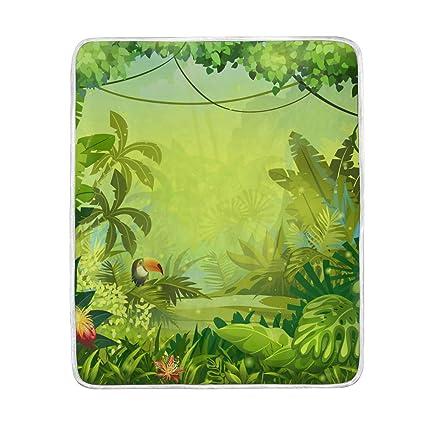 f430bb4115461 Amazon.com: HELVOON Tropical Palm Leaves Throw Blanket Soft Warm ...