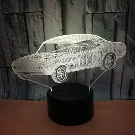 3D Night Light Car Touch Lámpara De Mesa Usb Car Colorido Cambio ...