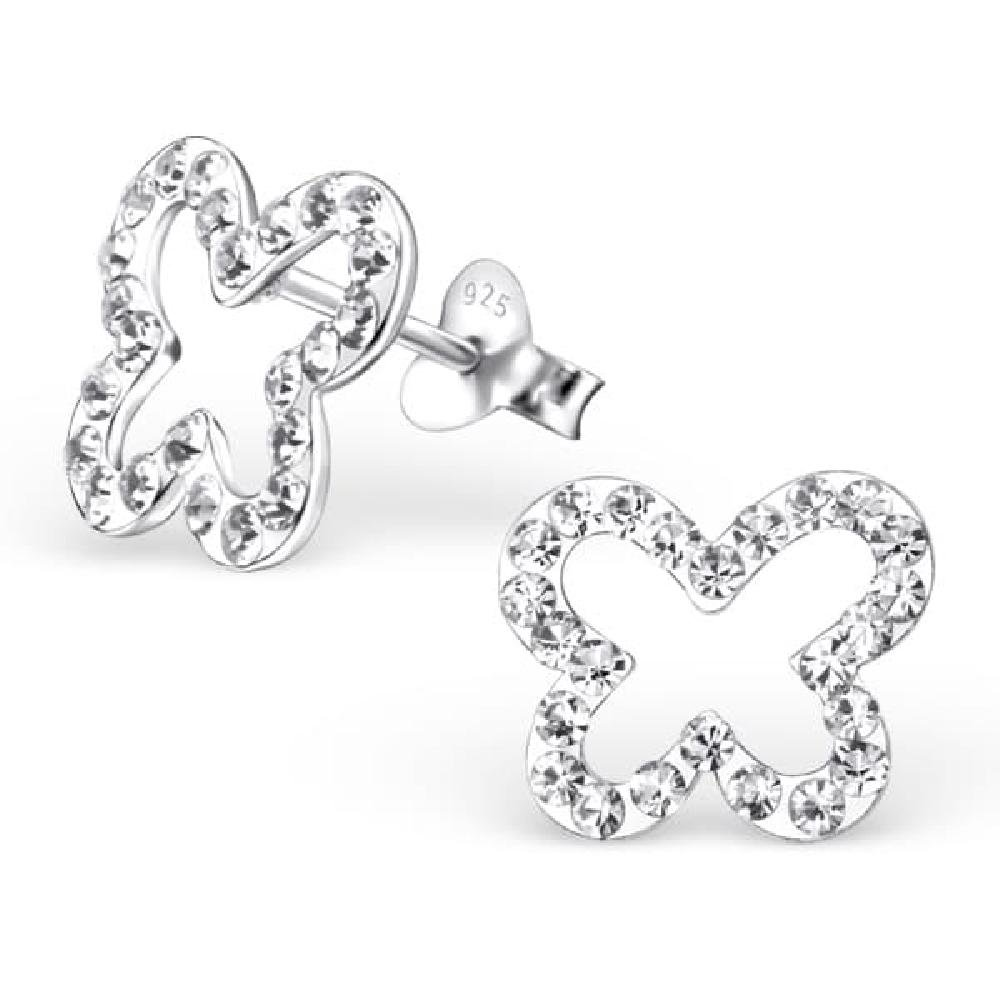 Childrens 925 Sterling Silver Butterfly Ear Studs with Crystal So Chic Jewels