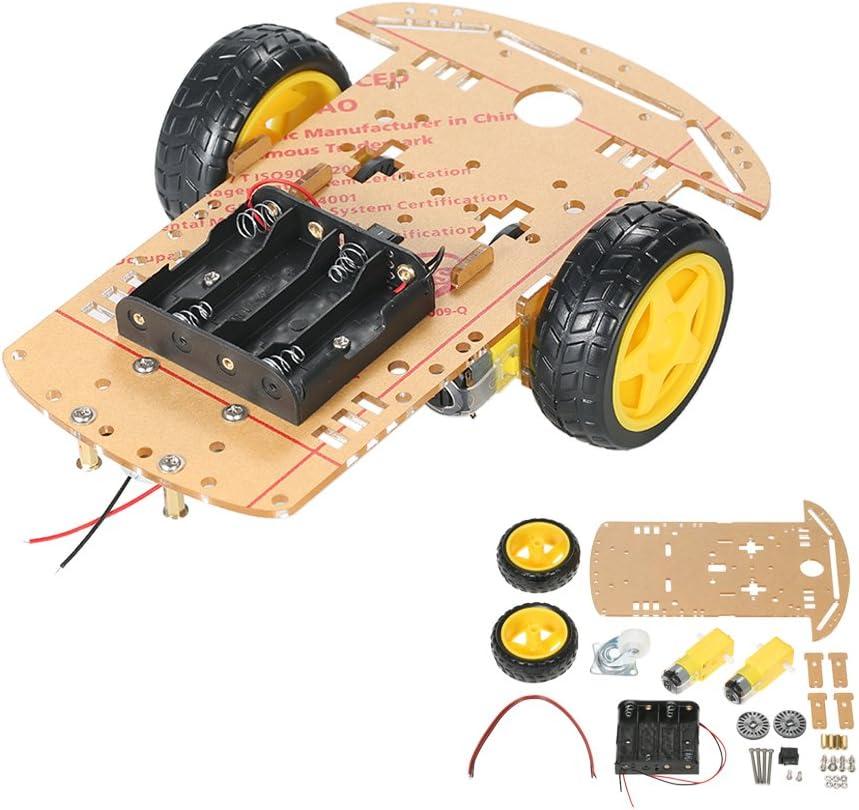 KKmoon 2 Sets Motor DC Gear + Rueda para Neumáticos para Arduino DC 3V-6V Smart Car DIY Project 2pcs DC Motor eléctrico con 2 Piezas de plástico de Juguete Rueda de neumáti