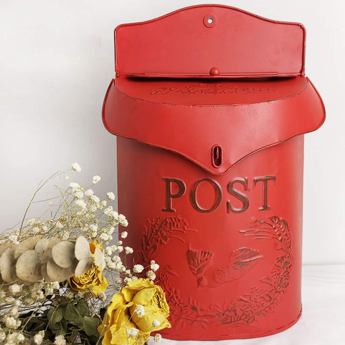 Red Wall Mount Letterbox Post Box Mailbox Suggestion Box Vintage Iron Distressed Metal Country House Outdoor Home Decoration