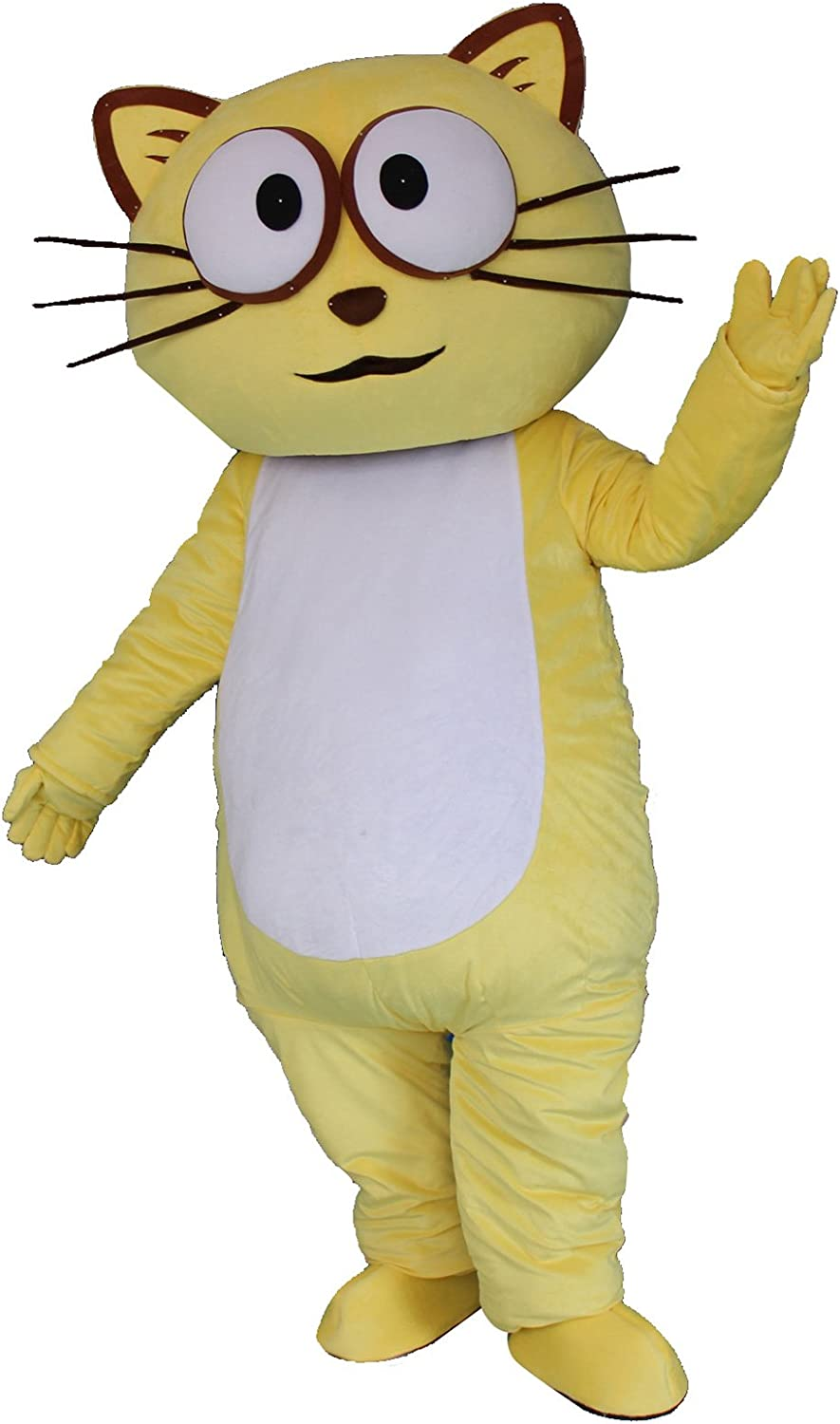 Amazon Com Cat Cartoon Mascot Costume Fancy Dress Cosplay Suit Outfit Yellow Clothing