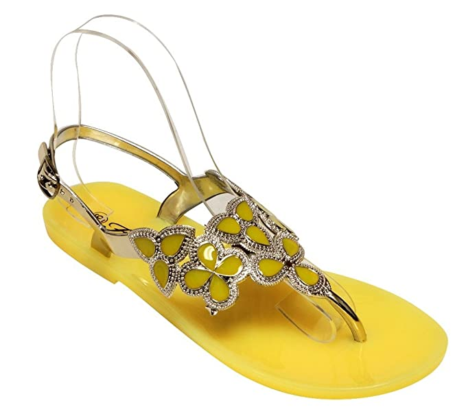 d4877e91e Image Unavailable. Image not available for. Color  Forever Fairy-25 Women s  Floral Golden Crystal Thong Adjustable Ankle Strap ...