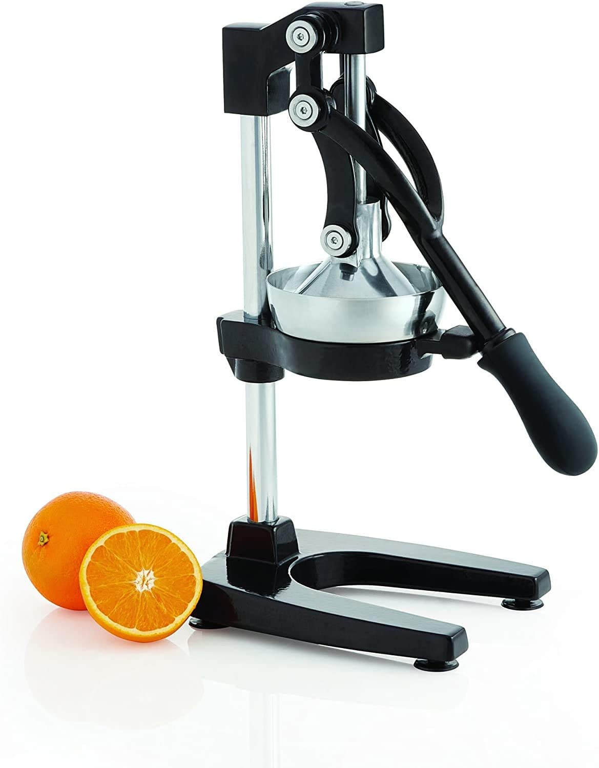 Large Citrus Juicer - Commercial Grade Press Orange, Grapefruit and Lemon Press Juicing - Extracts Maximum Juice - Heavy Duty Cast Iron Base and Handle,Black