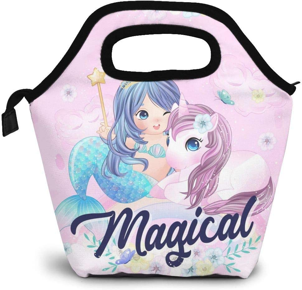Magical Unicorn Lunch Box Insulated Meal Bag Cute Lunch Bag with Cartoon Mermaid,Reusable Snack Bag Food Containertote Bag.
