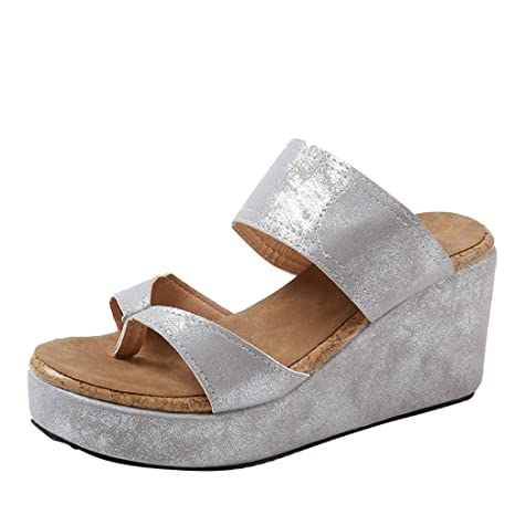 43b01447f Image Unavailable. Image not available for. Color  Womens Wedge Sandals  High Platform Flat Sandals Wide ...