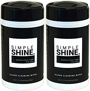 Silver Cleaning Wipes, 100% Cotton Wet Polishing | Best for Sterling Jewelry, Silverware (60 Wipes)
