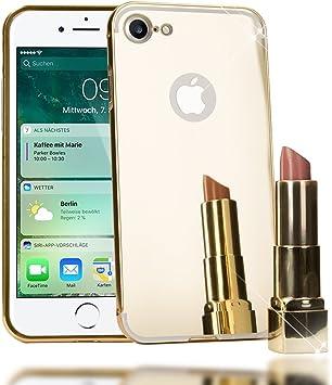 NALIA Funda Espejo Compatible con iPhone 7, Protectora Movil Carcasa Ultra-Fina Bumper Mirror Case con Marco Aluminio, Telefono Cubierta Dura ...