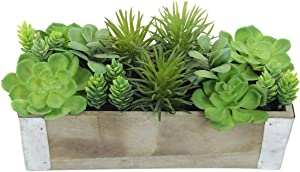 Admired By Nature Artificial Potted Succulents Plants Wood Planter, Green