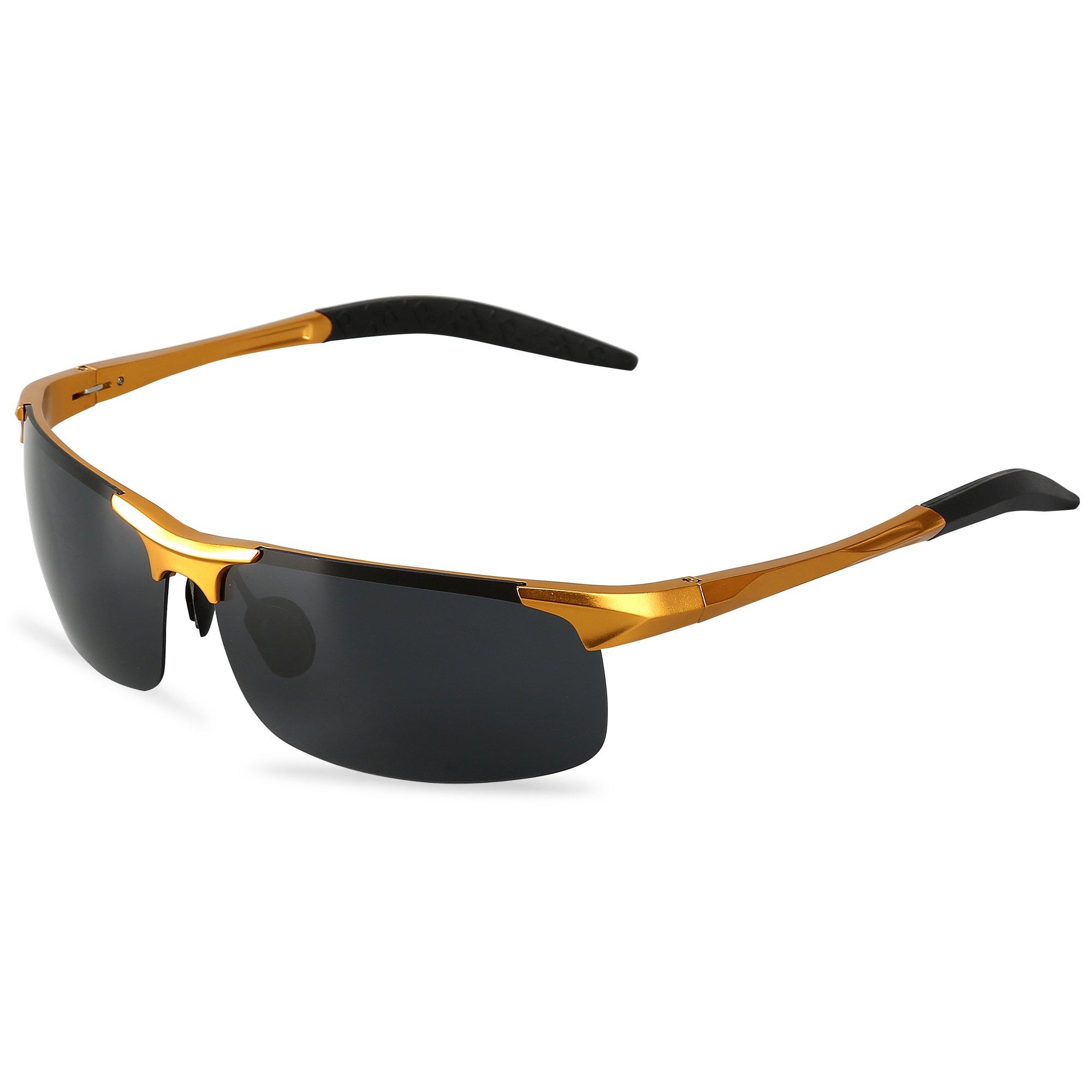3a8ae15b5f56 Men s Sports Style Polarized Sunglasses For Driving Fishing Cycling  Ultralight Glasses LeadallwayTM (Golden frame darkgrey lens)