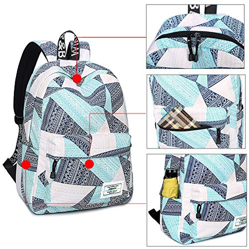 Backpack for Teens, Fashion Geometric Pattern Laptop Backpack College Bags Women Shoulder Bag Daypack Bookbags Travel Bag by Mygreen (Blue&Green&Orange) by mygreen (Image #4)