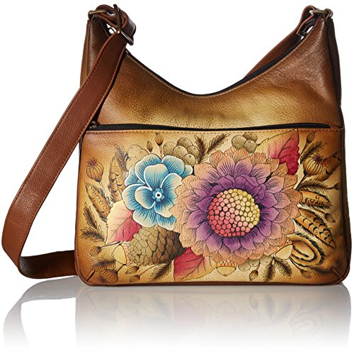 Anna by Anuschka Hand Painted Leather Women's Crossbody HOBO, Rustic Bouquet