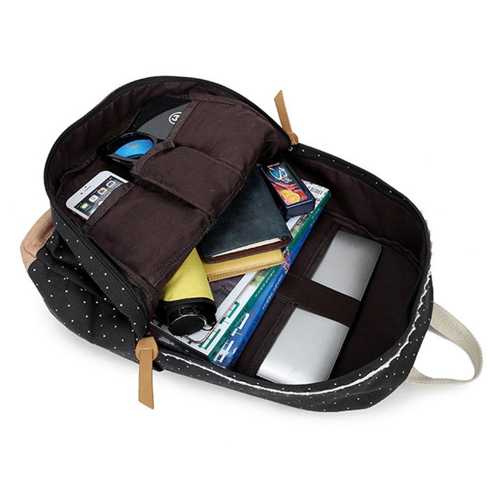noir sacs /à dos loisirs ext/érieurs avec la dentelle /él/égante sac /à dos l/éger toile femmes Mode Sac /à dos fille d/école sac /à dos dadolescent sac /à dos dordinateur portable