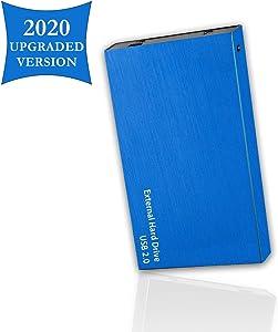 "Portable External Hard Drive, USB 2.0, 2.5"" Slim External Hard Drive Plug and Play Hardrive for Storage, Backup for Computer, MAC, Desktop, Laptop, MacBook, Chromebeook (100 GB, Blue)"