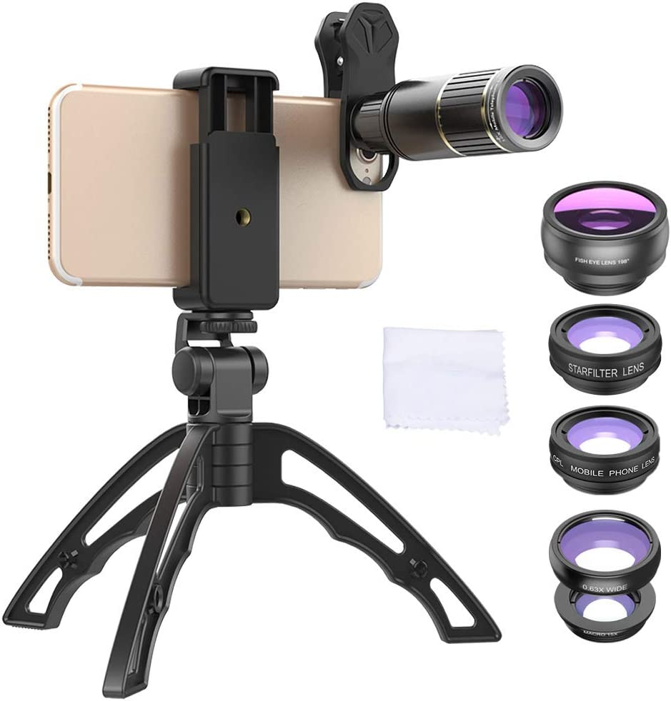 6 in 1 Cell Phone Camera Lens kit, 16X telephoto +0.63x Wide Angle +15x Macro +198 ° fisheye + CPL Polarization + Star Filter with Tripod Phone Lens 61DtvAdJlBL