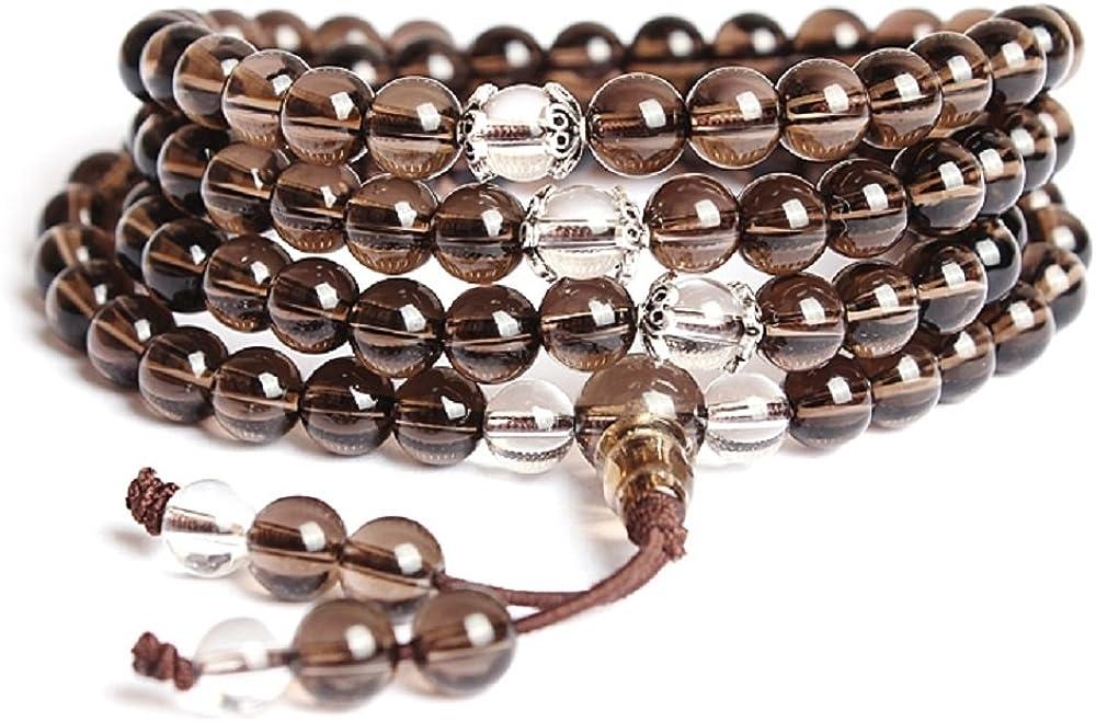 COAI® Pulsera Collar de 108 Cuenta de Cuarzo Ahumado Meditación Mala