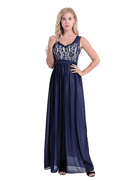 a69c5a1cb iiniim Vestido Largo Encaje Floral Mujer Vestido Elegante de Fiesta  Ceremonia Maxi Cóctel Boda para Chicas