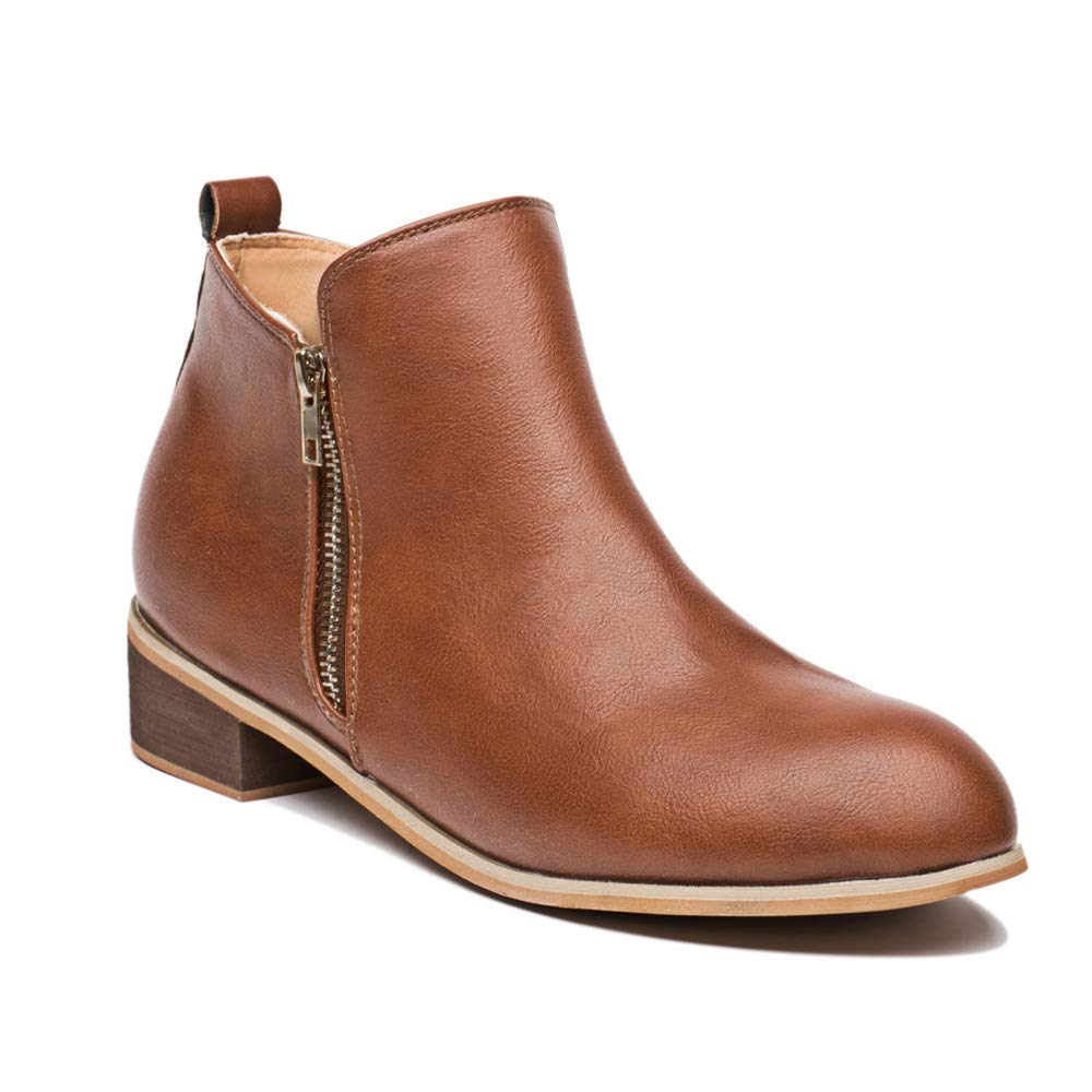 Blivener Women's Ankle Boots Faux Leather Suede Western Round Toe Bootie Stacked Heel Brown EU38