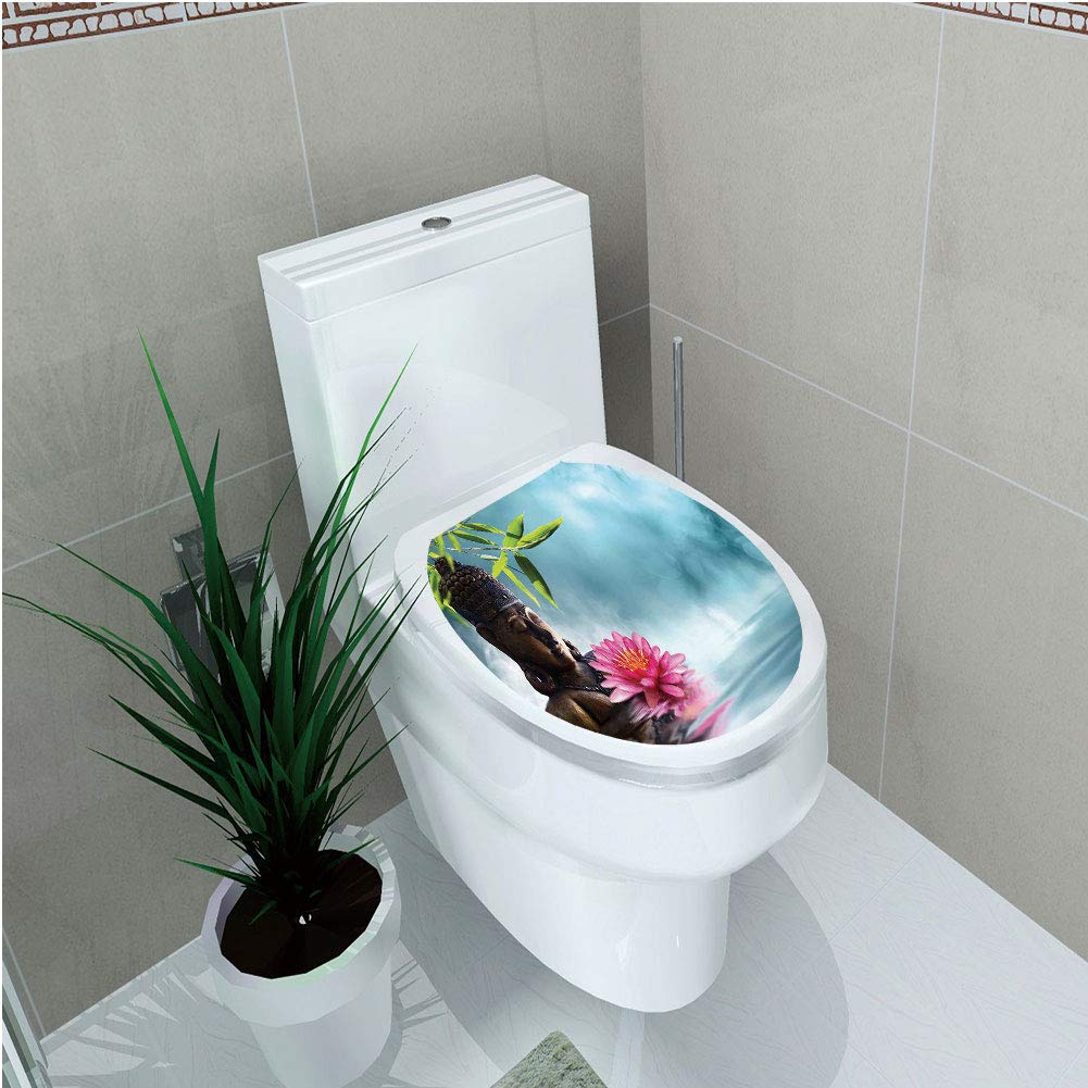 Toilet Sticker 3D Print Design,Zen Meditation Decor,Zen Waterlilly Flowers Spa Decor Nature Feng Shui Natural Calm Water Floral,for Young Mens,W12.6''xH14.9''