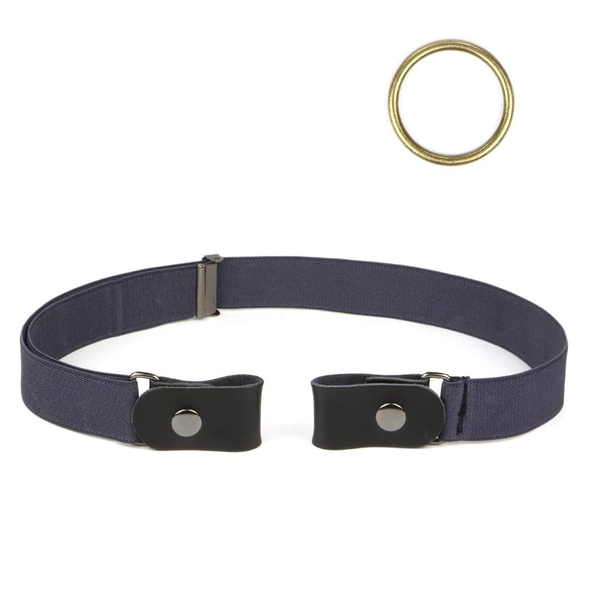 Lalafancy Actualizado Cinturón elástico sin hebilla para Mujer Hombre Ajustable Cinturón invisible con cinturón de cuero más plano, Más invisible y cómodo