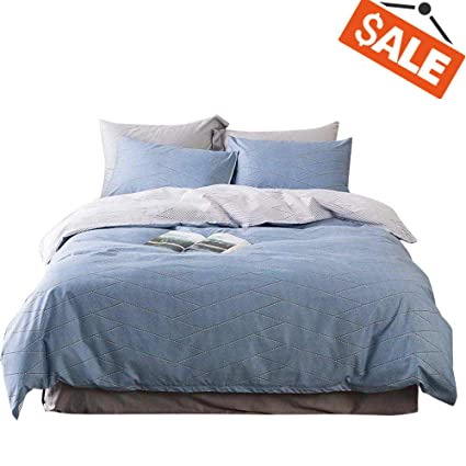 583a7621fa2a VClife Cotton Duvet Cover Sets Twin Gray Bedding Sets Reversible Blue  Geometric Pattern Kid Comforter Quilt