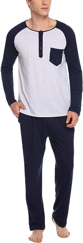 Sykooria Ropa de Dormir de algodón para Hombre Conjuntos de Pijama Manga Larga de Invierno 2 Piezas Ropa de Dormir Camisa Henley y Pantalones Largos Suaves: Amazon.es: Ropa y accesorios