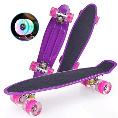 Completely Skateboarding-Flash PU Wheel Professional Purple Skateboard, Wave Pattern, 57159.5cm, Adult-Teenage-Children Skateboarding : Sports & Outdoors