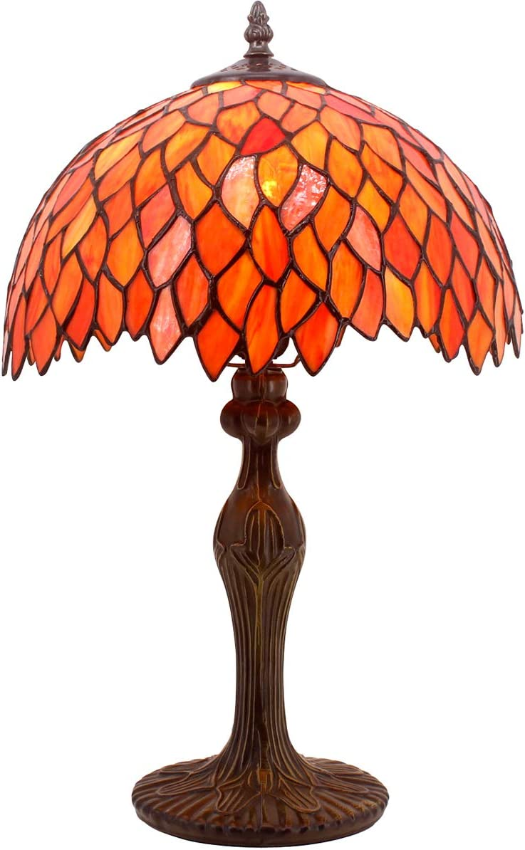 Tiffany Lamp Red Wisteria Style Table Desk Lamp Light 18 Inch Tall Antique Beside Desk Reading Sets for Lover Living Room Bedroom Kids Room Coffee Table Bookcase S523R WERFACTORY