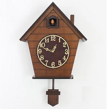 Artes reloj de pared Estilo Europeo Reloj de cuco de madera maciza Reloj cucú Bosque Negro