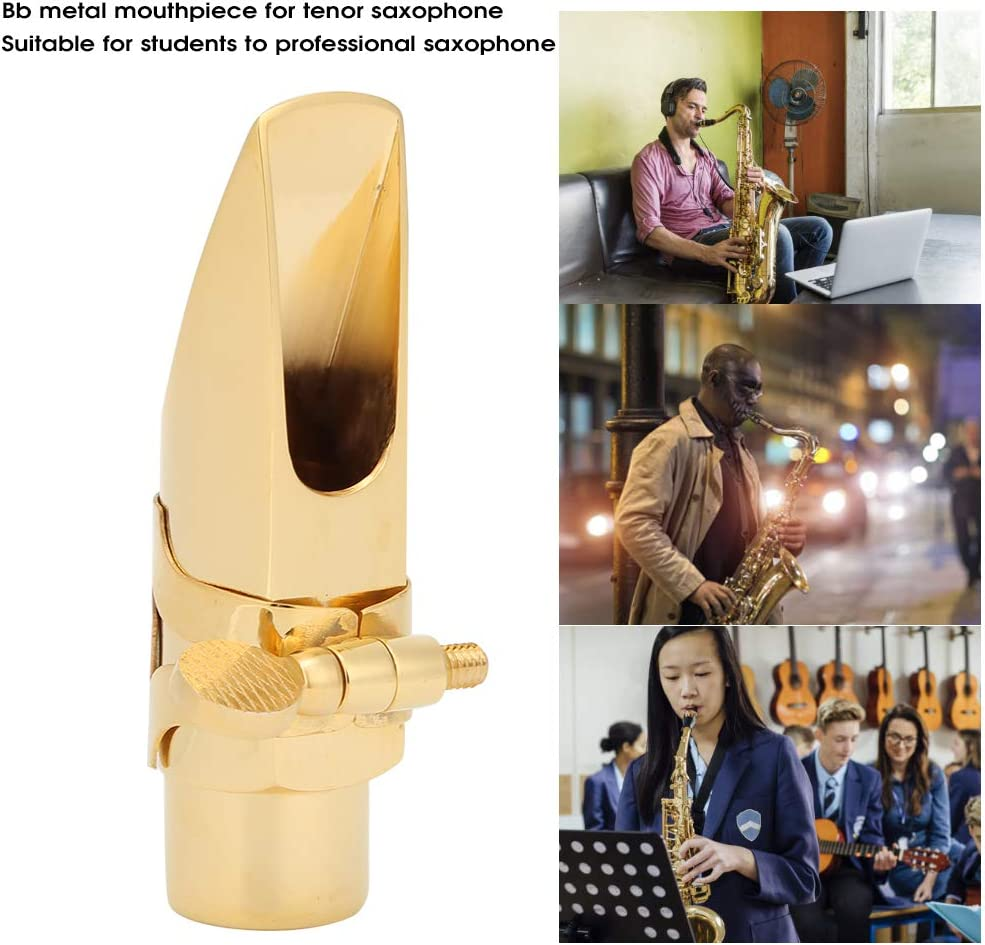 Gold-Plated Brass Metal Mouthpiece Musical Instrument Accessories Keenso Durable Alto Saxophone Mouthpiece