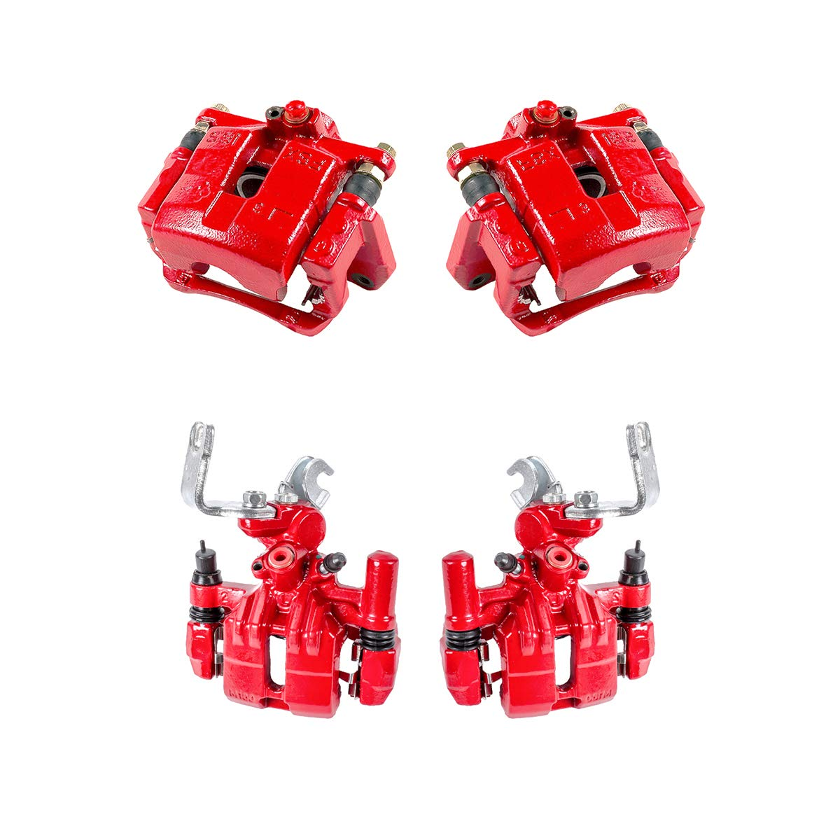 Callahan CCK03866 4 FRONT Hardware Brake Kit REAR Premium Semi-Loaded Red Coated Calipers