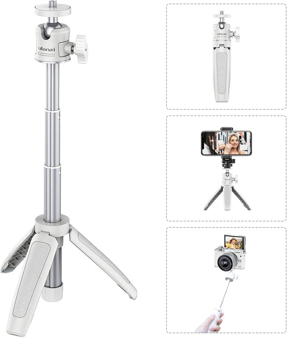 "Mini Portable Camera Tripod for iPhone/Samsung/Google Smartphone Clamp/Action Cam/Webcam, Lightweight White Handle Travel Tripod, 1/4"" Vlogging Table Tripod Stand Video Shooting Photography Accessory"