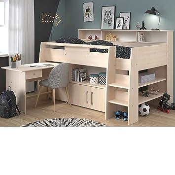 sale retailer cf709 01492 Kids Mid Sleeper Bed Desk, Happy Beds Kurt Acacia Wood ...