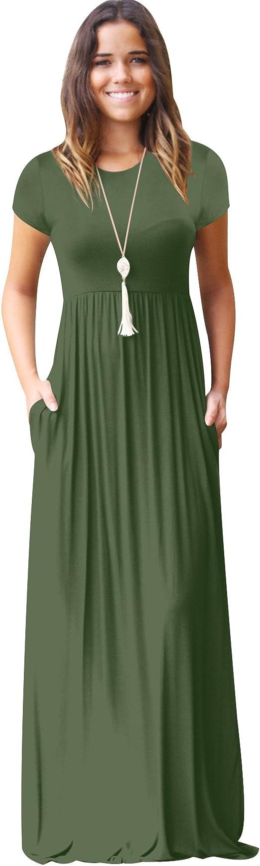 ISSHE Lange Kleider Damen Maxikleid mit ärmel Sommerkleider Lang Maxi  Kleider Sommer Lockere Bodenlanges Sommerkleid Kurzarm Kleid Bodenlang