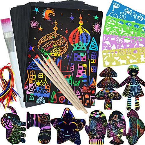 🥇 ZMLM Scratch Paper Art Set for Kids – 107 Pcs Rainbow Magic Scratch Off Arts and Crafts Supplies Kits Sheet Pack for Children Girls Boys Birthday Game Party Favor Christmas Easter Craft Gifts