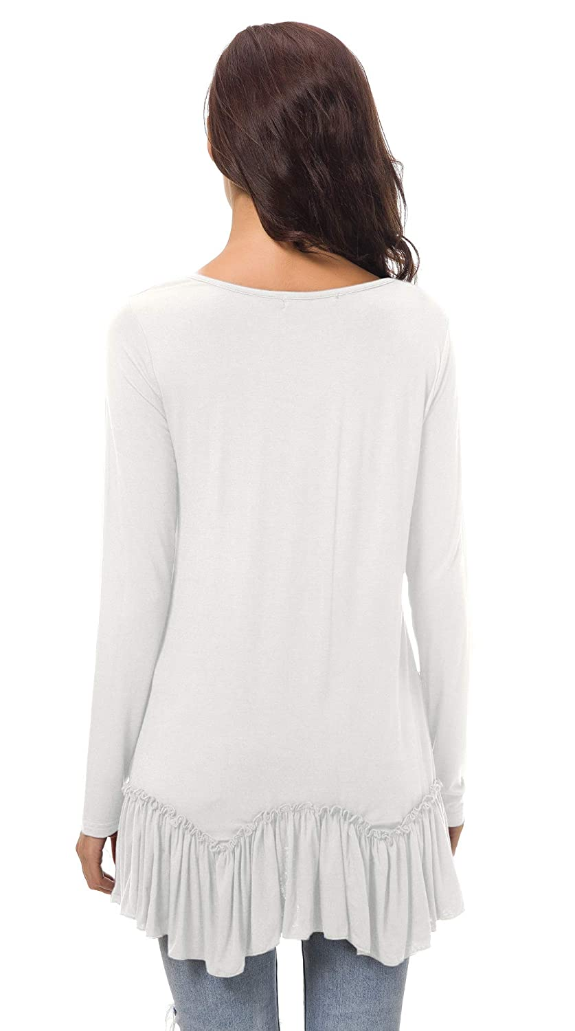 Urban CoCo Womens Casual T-Shirt Solid Long Sleeve Tunic Tops