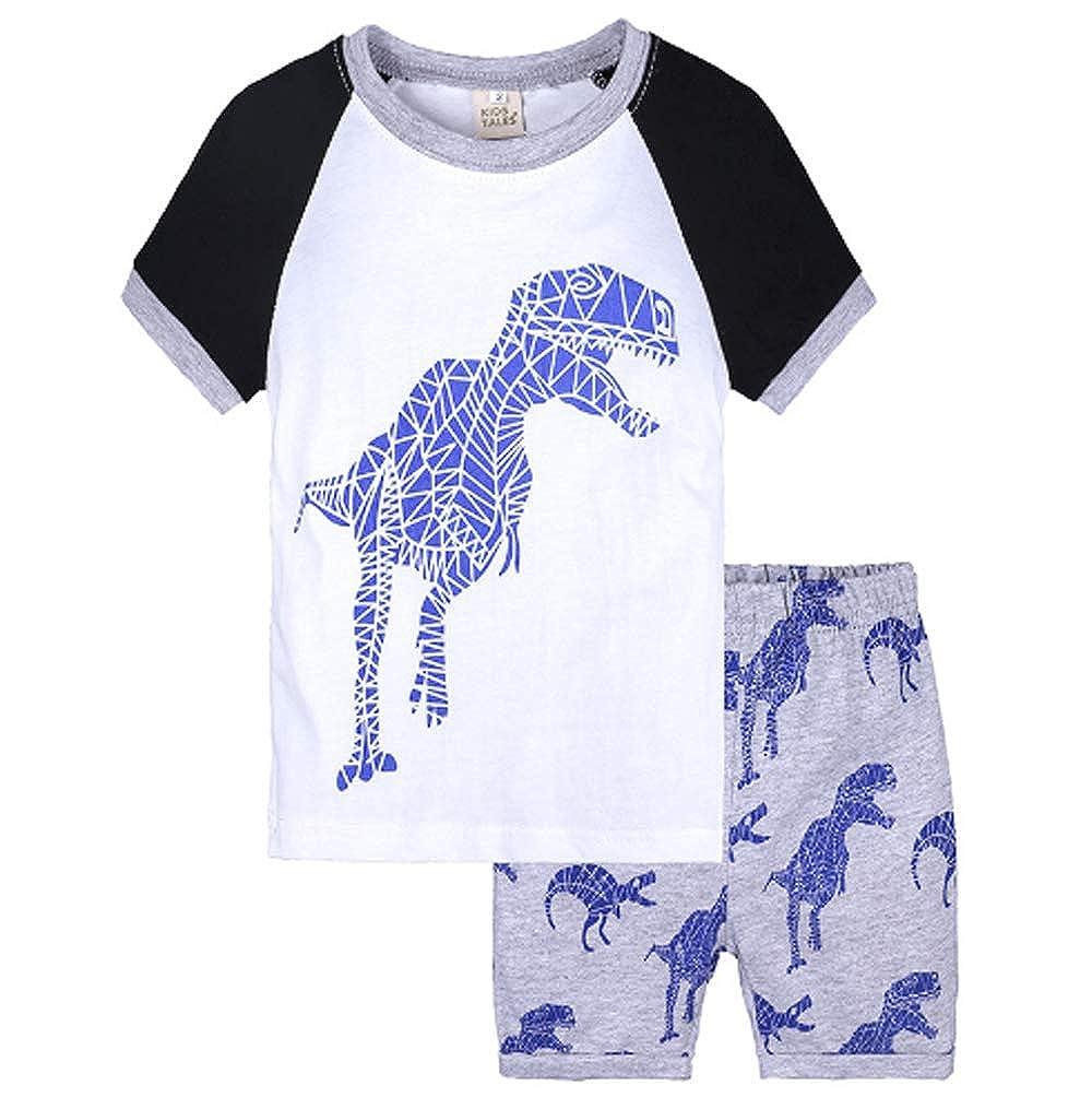 Keaiyouhuo Little Boys Pajamas Shorts Set for Toddler Summer Clothes Trian Dinosaur Sleepwear Cotton 2 Piece Kids Pjs 2-7T