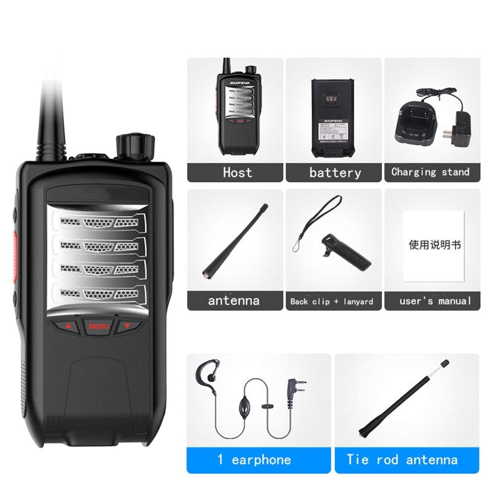 HDJ Walkie Talkies,6000mAh Outdoor 10 Km Waterproof Engineering Property Civil Use Walkie (Black, 1 Pair)