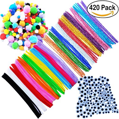 420 Pieces Pipe Cleaners Set, Including 50 Pcs 10 colors pipe cleaners, 50 Pcs 10 Colors Chenille Stems, 200 Pcs 6 Size Pom Poms and 120 Pcs 3 Size Wiggle Googly Eyes for Craft DIY Art Supplies