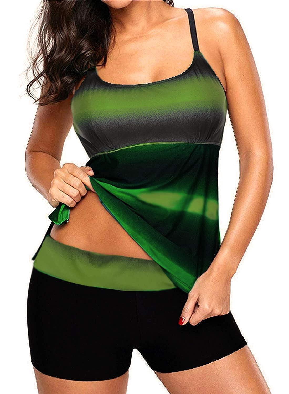 TALLA EU 42(Tag 2XL). Sixyotie Mujer Deportivo Traje de Baño Dos Piezas de Rayas Color Top Conjunto Inferior Bikini Tankini
