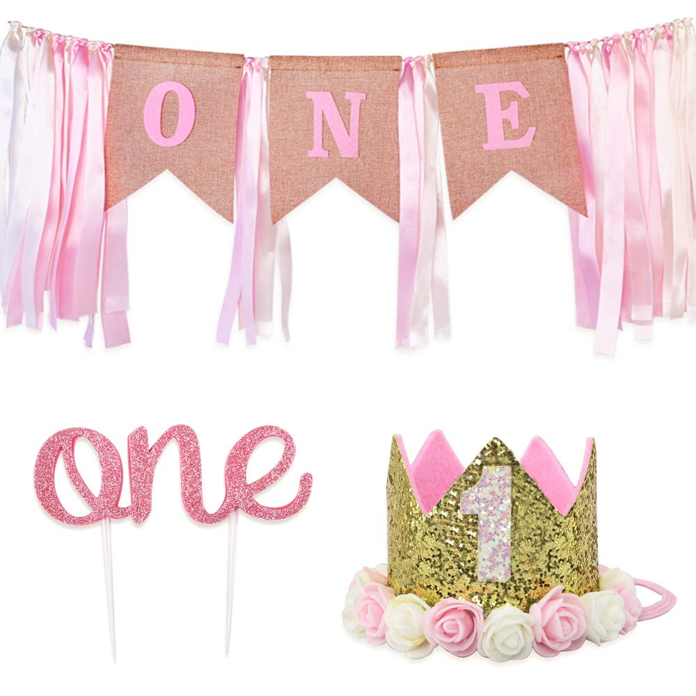 "RUBFAC Baby 1st Birthday Decoration for Girl, Number 1 Crown,""one"" Burlap Banner High Chair Decoration and Cake Topper"