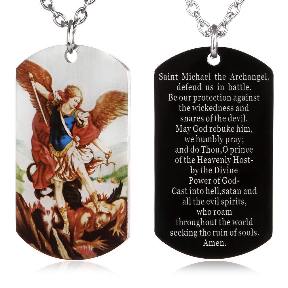 1618c0e3c5e FAYERXL St Michael The Archangel Latin Prayer Dog Tag Necklace Military  Pendant Christian Faith Jewelry (Colorful Saint Michael Archangel) |  Amazon.com