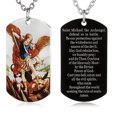 FAYERXL St Michael The Archangel Latin Prayer Dog Tag Necklace Military  Pendant Christian Faith Jewelry