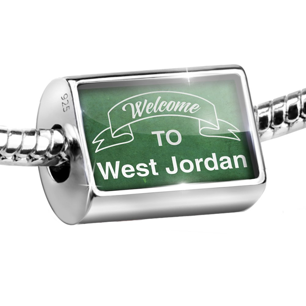 Sterling Silver Bead Green Sign Welcome To West Jordan Charm Fits All European Bracelets