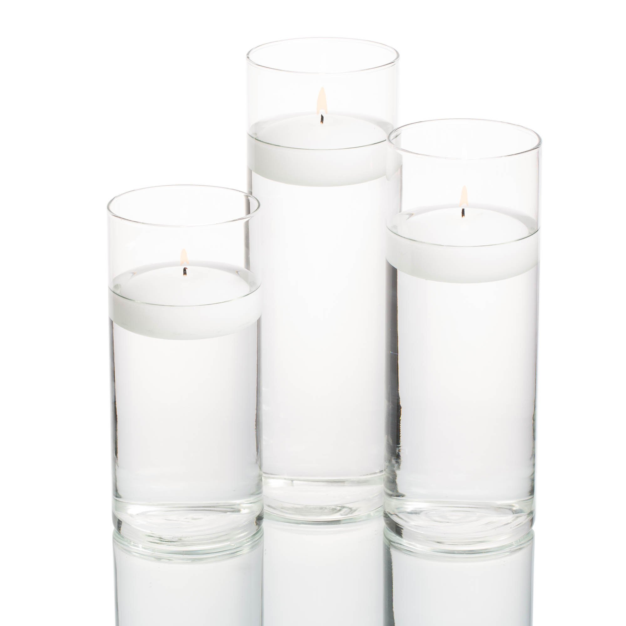 36 Eastland Cylinder Vases and 36 White 3'' Richland Floating Candles by Richland