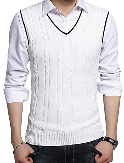 Men's Vintage Sweaters – 1920s to 1960s Retro Jumpers V-Neck Pullover Vest Casual Sleeveless Knitted Slim Fit Sweater Vest $20.99 AT vintagedancer.com