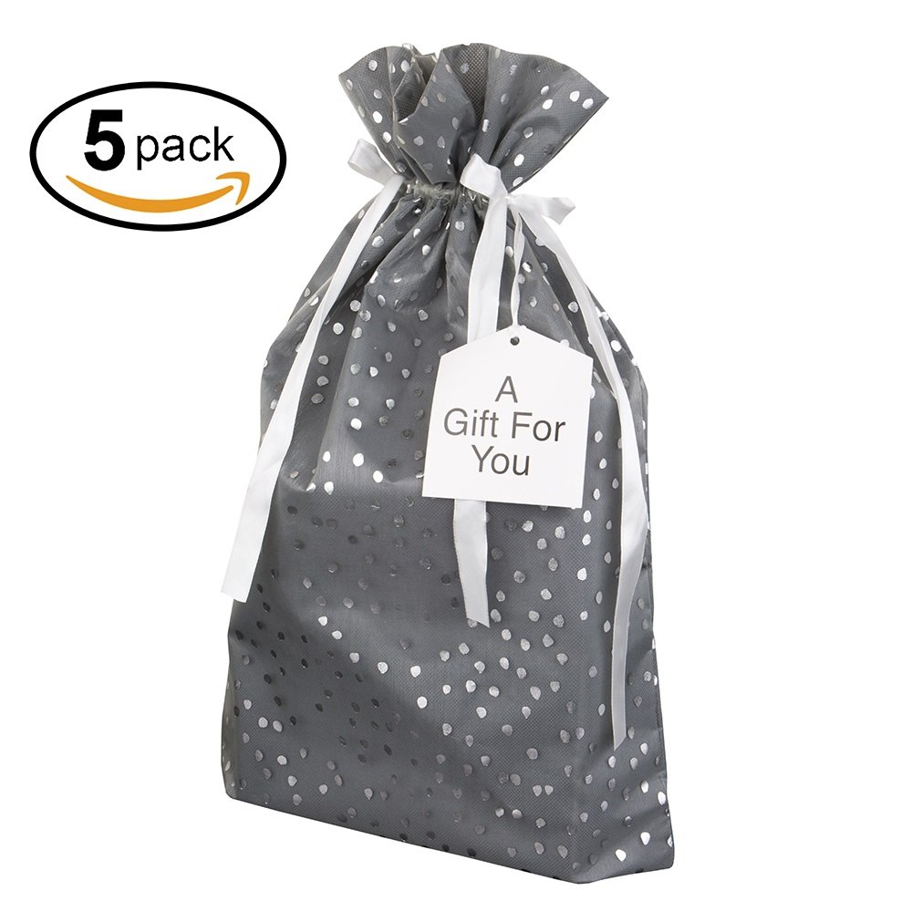 Medium Premium Fabric Gift Bags (Pack of 5) Organza with Lining Satin Ribbon Holiday Christmas - Grey Polka Dot Print - 18.5'' x 13.25'' for Medium or Large Gifts Such as Tablets and Large Toys