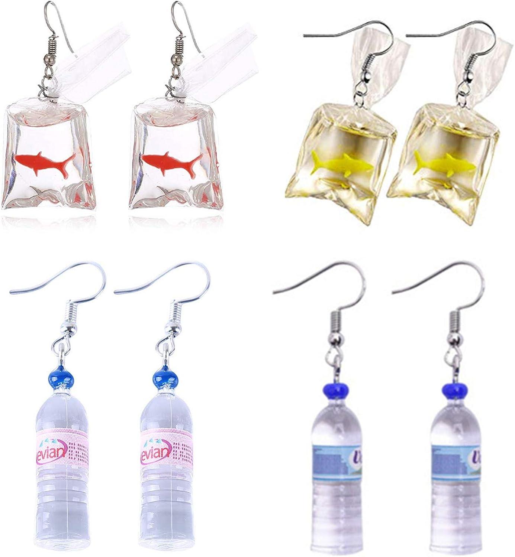 Water Bag Shape Dangle Hook Earrings for Girls Women Bohemian Creative Unique PPX 4 Pairs Funny Acrylic Goldfish and Water Bottle Pendant Earrings