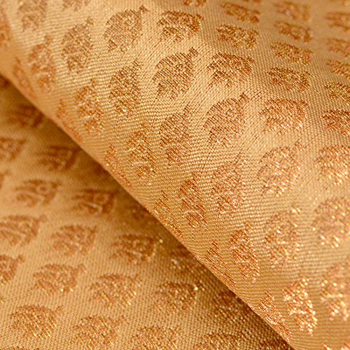 Golden Silk Cloth - Shopolics Royal Golden small flower shape brocade silk fabric-4658, Party wear Dress Material By The Yard