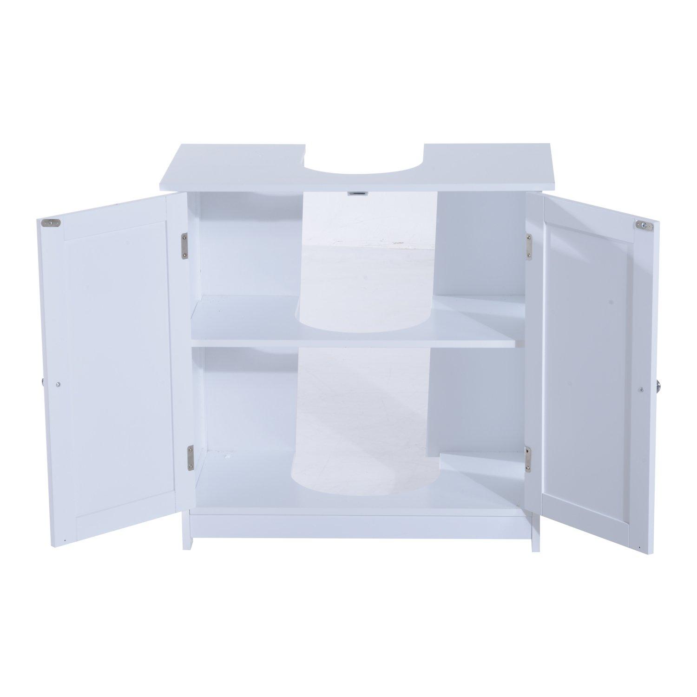 HOMCOM Waschbeckenunterschrank Badschrank Badm/öbel Waschbecken Unterschrank Wei/ß L60 x T30 x H60 cm